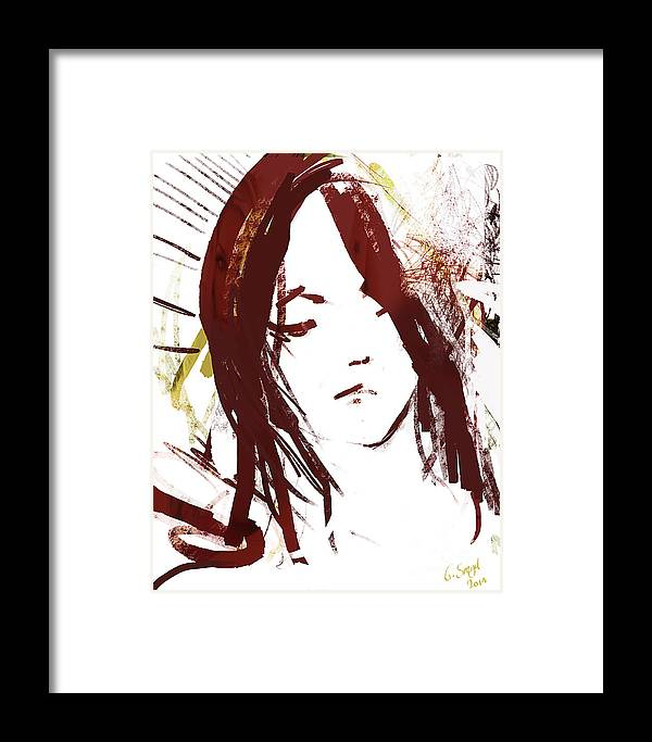 Digital Framed Print featuring the painting Female Textured Sketch Number 2 by George Sneyd