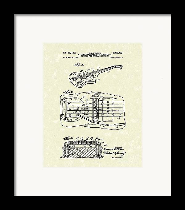 Fender Framed Print featuring the drawing Fender Floating Tremolo 1961 Patent Art by Prior Art Design