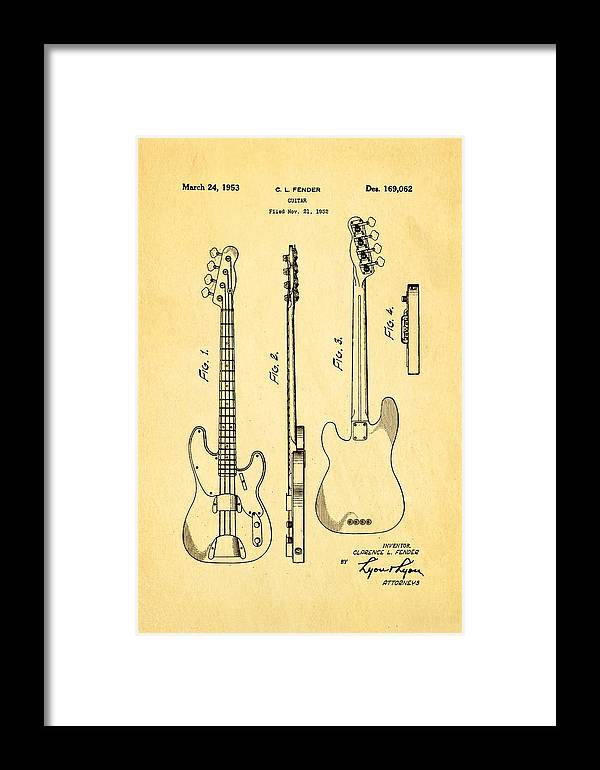 Famous Framed Print featuring the photograph Fender Precision Bass Guitar Patent Art 1953 by Ian Monk