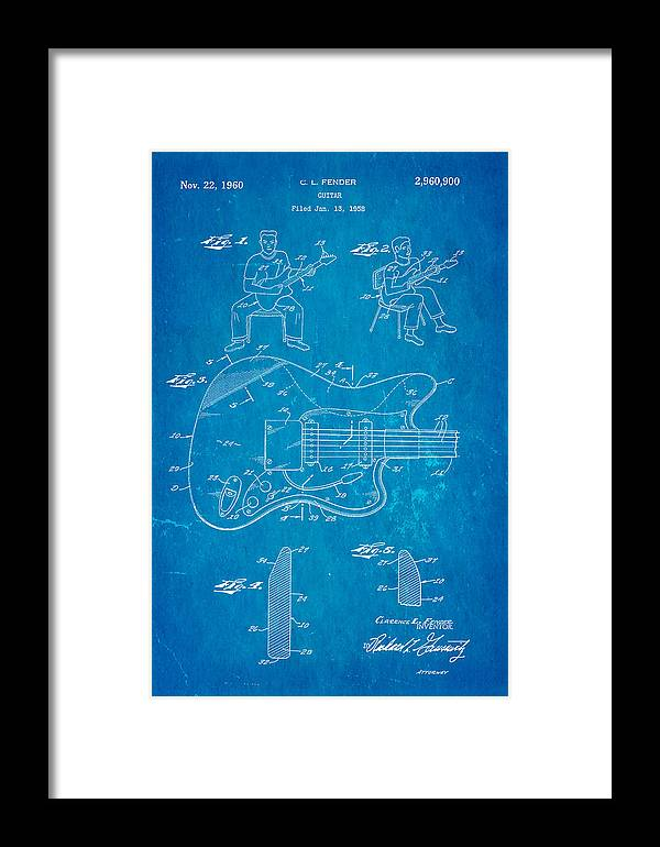 Fender jazzmaster guitar patent art 1960 blueprint framed print by famous framed print featuring the photograph fender jazzmaster guitar patent art 1960 blueprint by ian monk malvernweather Images