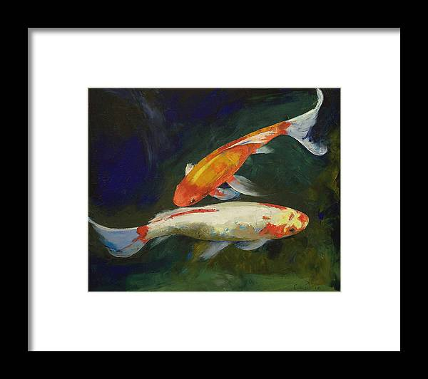 Feng Shui Framed Print featuring the painting Feng Shui Koi Fish by Michael Creese