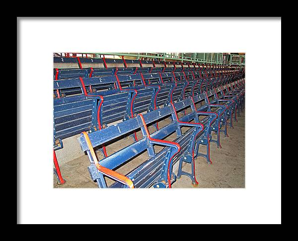 Baseball Framed Print featuring the photograph Fenway Blues Seats by Barbara McDevitt