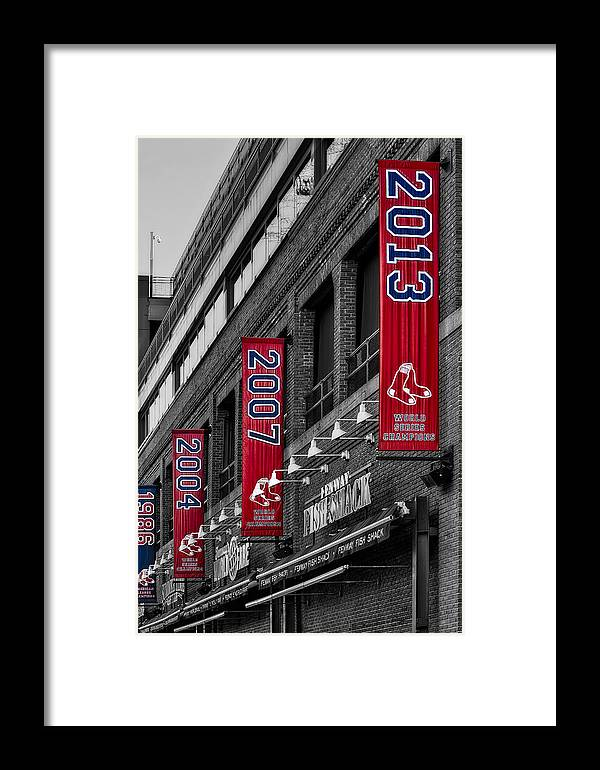 Baseball Framed Print featuring the photograph Fenway Boston Red Sox Champions Banners by Susan Candelario