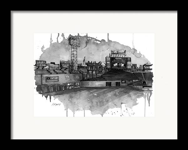 Fenway Framed Print featuring the painting Fenway Bw by Michael Pattison
