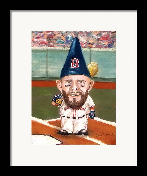Boston Red Sox Framed Print featuring the painting Fenway's Garden Gnome by Jack Skinner