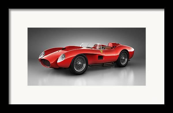 Transportation Framed Print featuring the digital art Ferrari 250 Testa Rossa - Spirit by Marc Orphanos