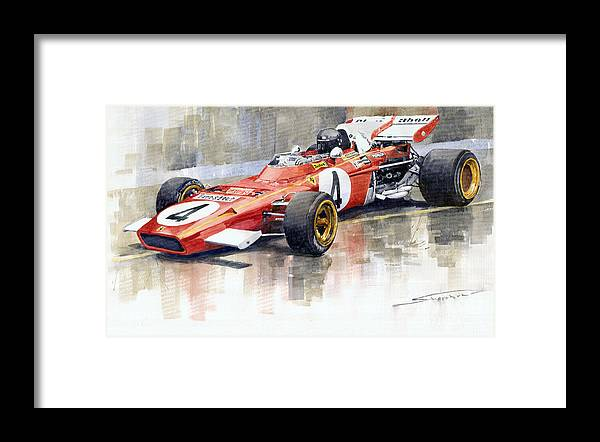 Watercolor Framed Print featuring the painting 1971 Ferrari 312 B2 1971 Monaco GP F1 Jacky Ickx by Yuriy Shevchuk