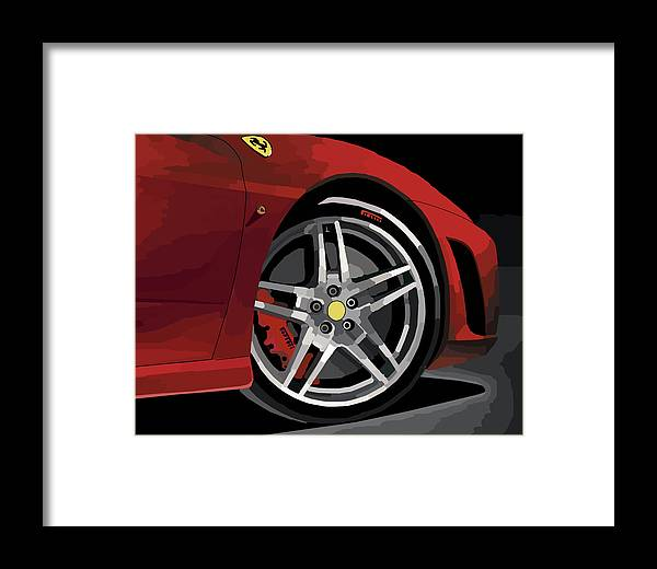 Automobile Framed Print featuring the digital art Ferrari Front End by Chris Istenes