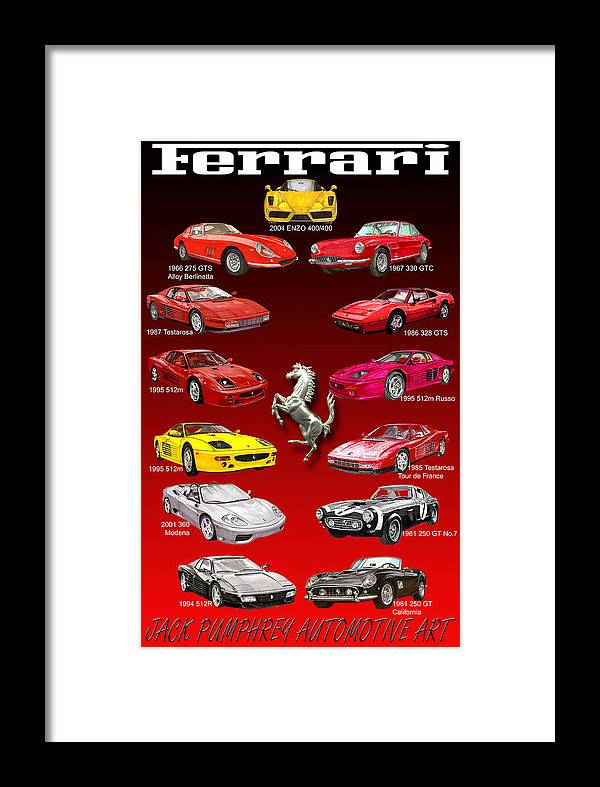 Framed Prints Of Ferrari Art Framed Print featuring the painting Ferrari Sports Car Poster by Jack Pumphrey