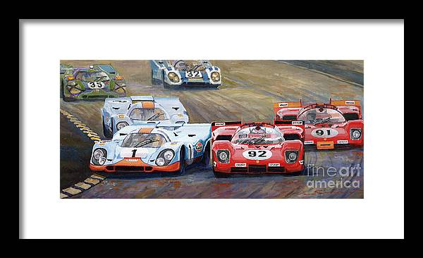 Acrilic On Canvas Framed Print featuring the painting Ferrari vs Porsche 1970 Watkins Glen 6 Hours by Yuriy Shevchuk