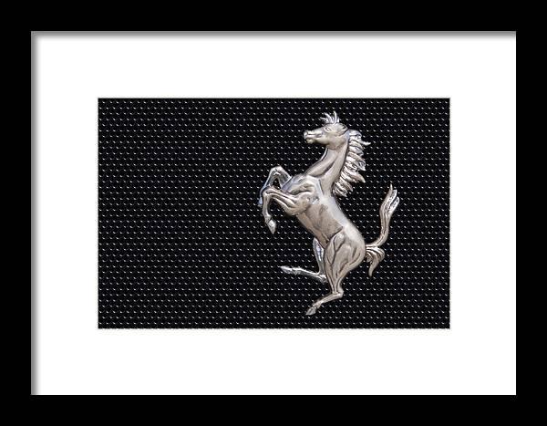 Ferrari Framed Print featuring the photograph Ferrari's Horse Logo In Chrome by Scott Lenhart