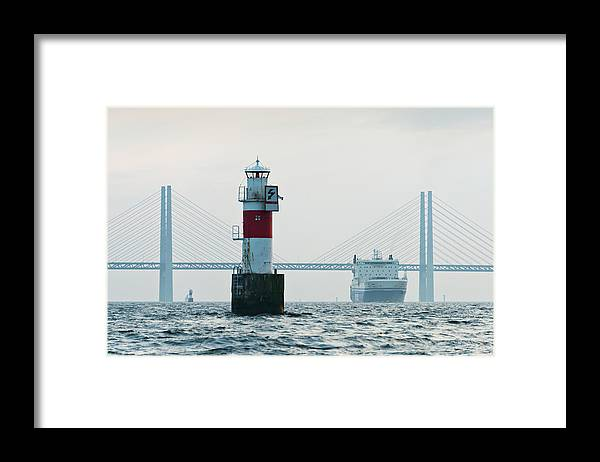 Copenhagen Framed Print featuring the photograph Ferry On Sea, Oresund Bridge In by Johner Images