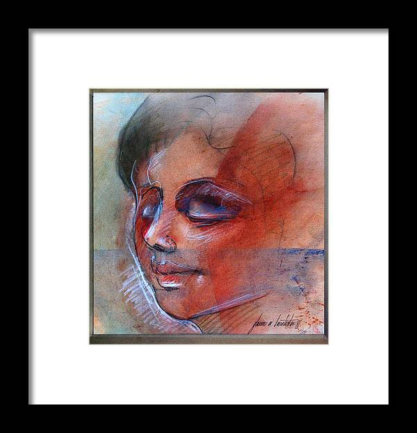 Fictitious Face Framed Print featuring the drawing Fictitious Face 1981 by Glenn Bautista
