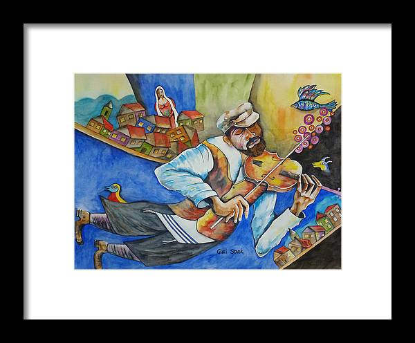 Fiddler On The Roof Framed Print featuring the painting Fiddler On The Roofs by Guri Stark