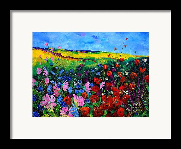 Poppies Framed Print featuring the painting Field Flowers by Pol Ledent