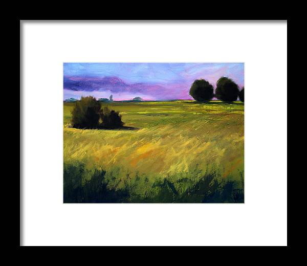 Oregon Framed Print featuring the painting Field Textures by Nancy Merkle