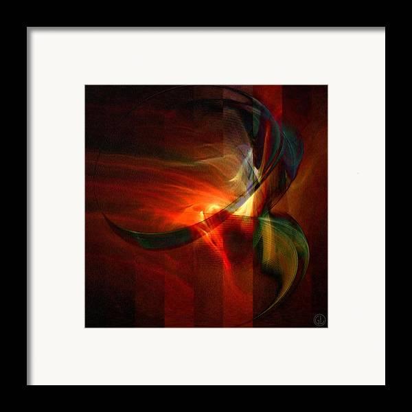 Abstract Framed Print featuring the digital art Fiery Flight by Gun Legler