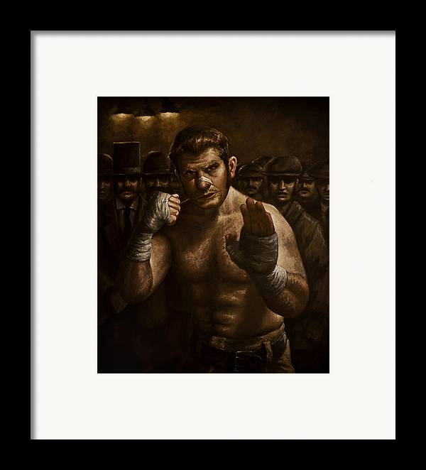 Fight Framed Print featuring the painting Fight by Mark Zelmer