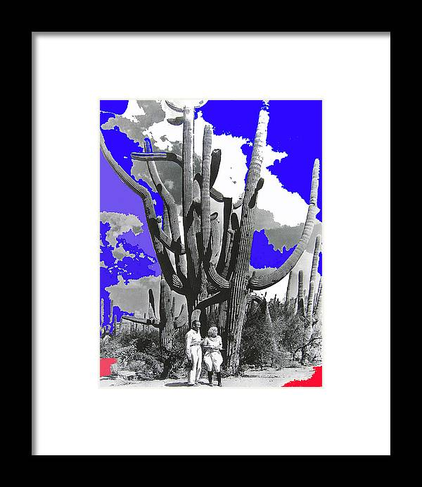 Film Homage Victor Fleming Jean Harlow Bombshell 1933 Saguaro Nat'l Monument Tucson 2008 Color Added Framed Print featuring the photograph Film Homage Victor Fleming Jean Harlow Bombshell 1933 Saguaro Nat'l Monument Tucson 2008 by David Lee Guss