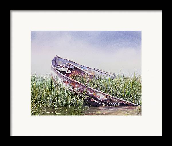 Boat Framed Print featuring the painting Final Journey by Ted Head