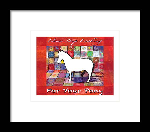 Red Framed Print featuring the painting Find The Pony Poster by James Raynor