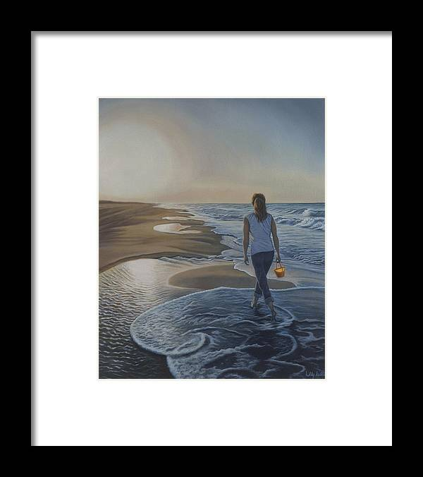 Realistic Framed Print featuring the painting Finding Her Treasure by Holly Kallie