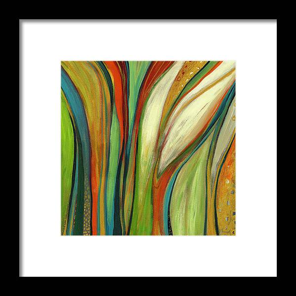 Abstract Framed Print featuring the painting Finding Paradise by Jennifer Lommers