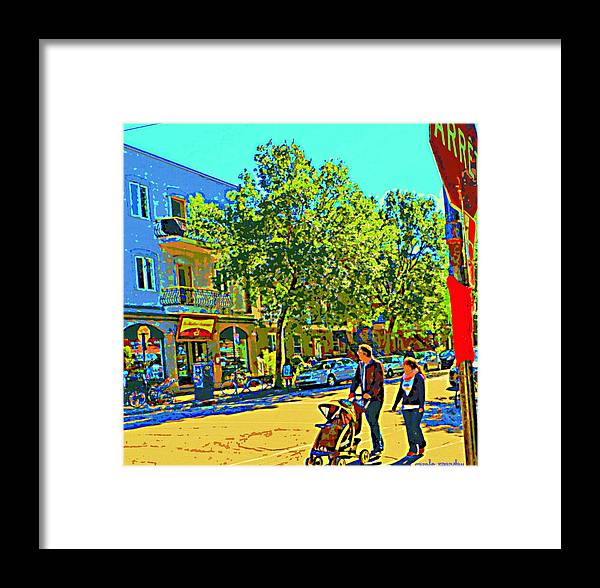 Montreal Framed Print featuring the painting Fine Day For Baby Strollers And Bikes Art Of Montreal Street Scene Across Maitre Gourmet Cafe by Carole Spandau