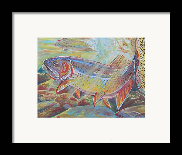 Fish Framed Print featuring the painting Fine Spotted Cutthroat Trout by Jenn Cunningham
