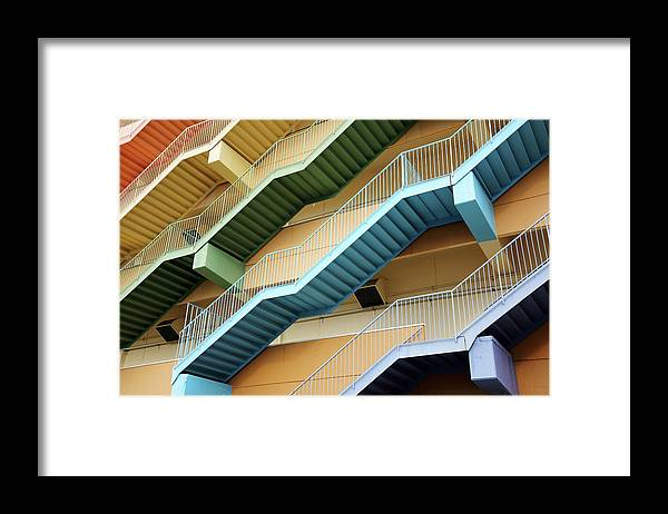 Steps Framed Print featuring the photograph Fire Escape Stairs by Akiyoko