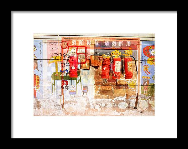 Fire Framed Print featuring the photograph Fire Extinguisher by Jean Schweitzer