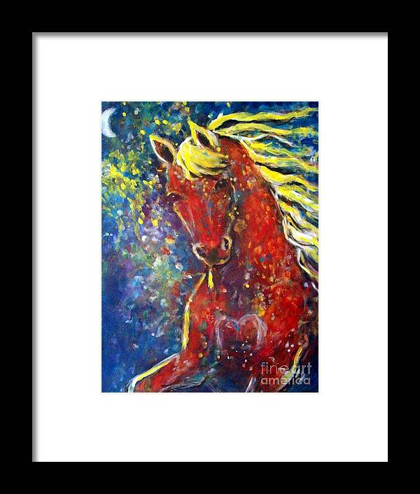 Equine Art Framed Print featuring the painting Fire Horse by Relly Peckett