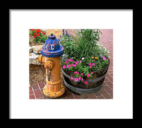 Fire Hydrant Framed Print featuring the photograph Fire Hydrant With Flowers by Jeff Gater