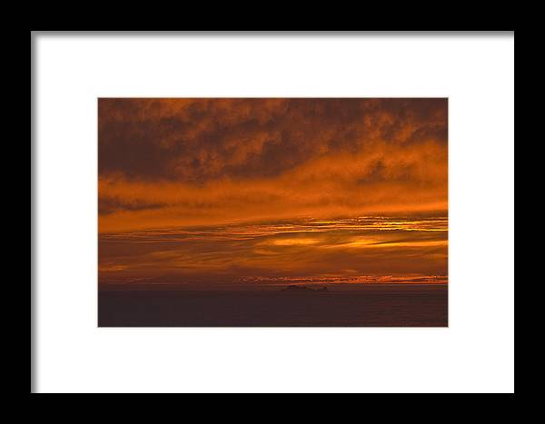 Sky Framed Print featuring the photograph Fire In The Sky At Sunset Over The Gulf Of The Farallones by Scott Lenhart