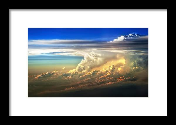 Sunset Framed Print featuring the photograph Fire In The Sky From 35000 Feet by Scott Norris