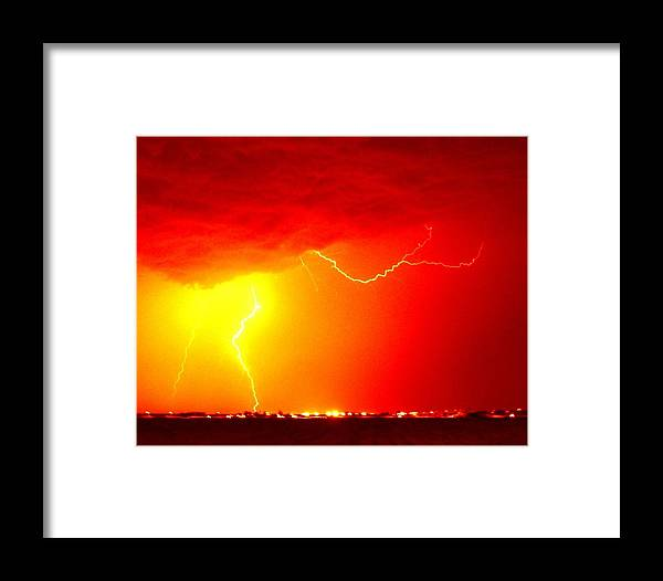Lightning Framed Print featuring the photograph Fire In The Sky by Michael Davis