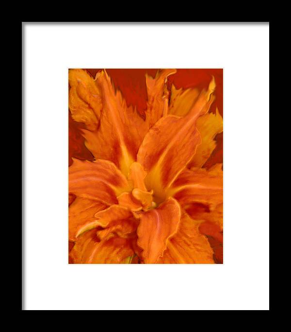Lily Framed Print featuring the painting Fire Lily by Anne Cameron Cutri