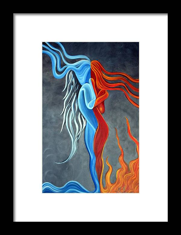 Nude Framed Print featuring the painting Fire N Ice by Laura Barbosa
