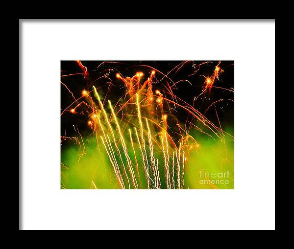 Fireworks Framed Print featuring the photograph Firefly Fireworks by Heather White