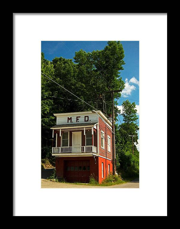 Firehouse Framed Print featuring the photograph Firehouse Meshoppen Pennsylvania by Elsa Marie Santoro
