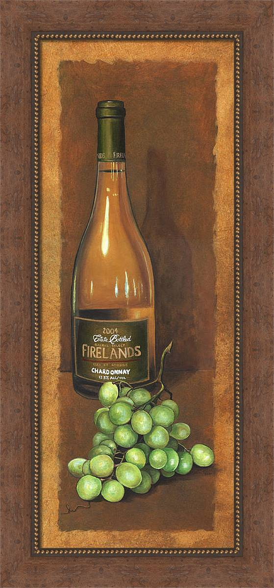 Wine Artwork Framed Print featuring the painting Firelands Chardonnay by Terri Meyer