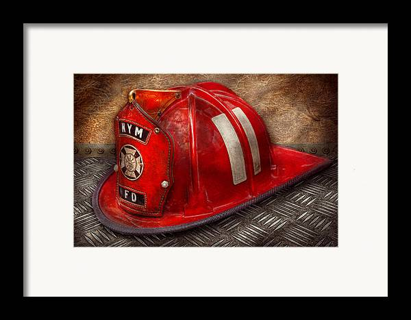 Fireman Framed Print featuring the photograph Fireman - Hat - A Childhood Dream by Mike Savad