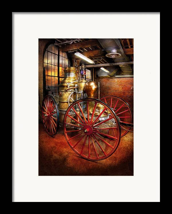 Suburbanscenes Framed Print featuring the photograph Fireman - One Day A Long Time Ago by Mike Savad