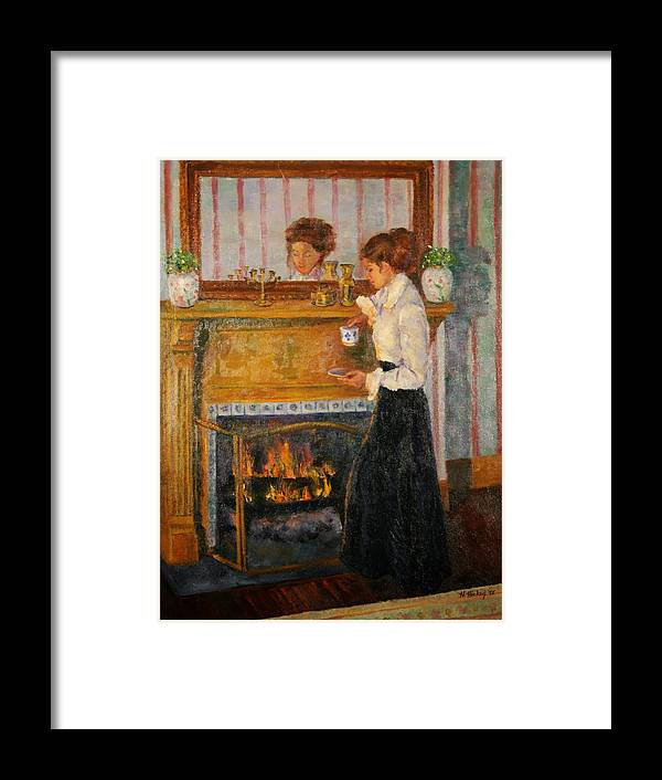 Framed Print featuring the painting Fireside by Helen Hickey