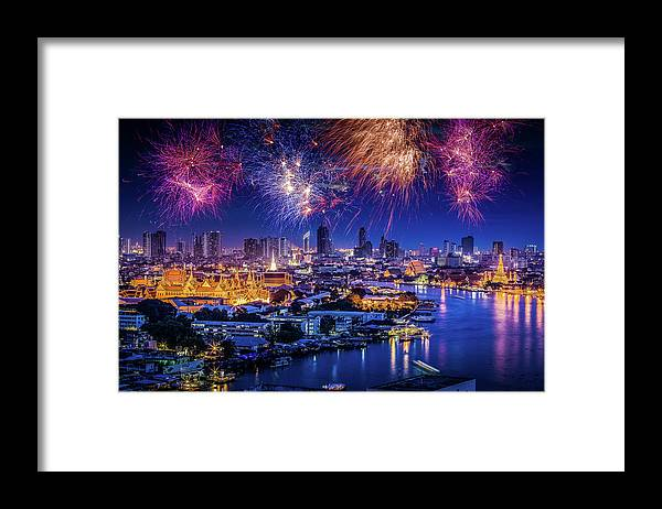Mother's Day Framed Print featuring the photograph Fireworks Above Bangkok City by Natapong Supalertsophon