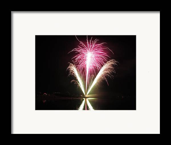 Garrison Cove Framed Print featuring the photograph Fireworks At Cooks by Donnie Freeman