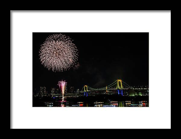 Firework Display Framed Print featuring the photograph Fireworks At Rainbow Bridge by ©alan Nee