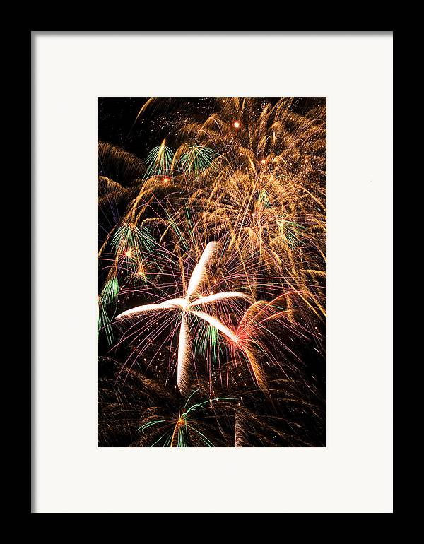 Fireworks Lights Up The Darkness Framed Print featuring the photograph Fireworks Exploding Everywhere by Garry Gay