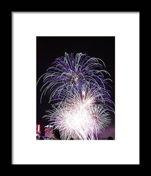 Fireworks Framed Print featuring the photograph Fireworks by Neela Madhav Suram