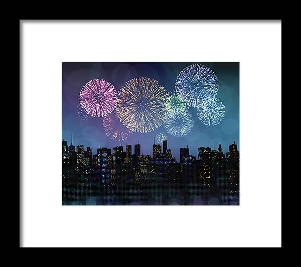 Event Framed Print featuring the digital art Fireworks Over The City by Magnilion
